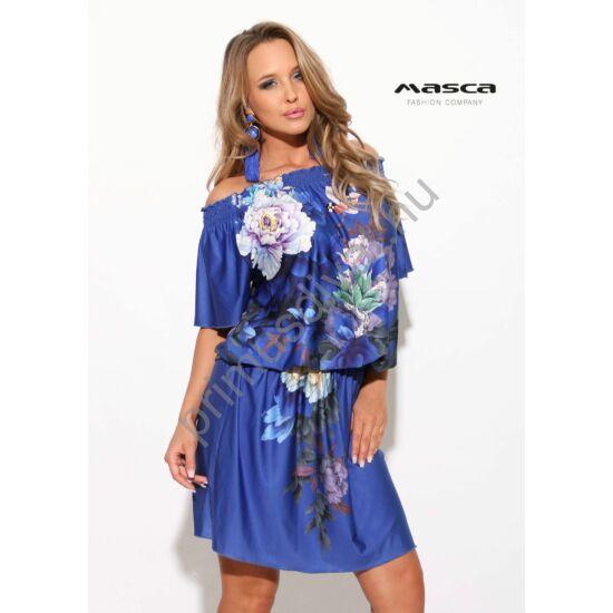 Masca Fashion vállra húzható gumírozott nyakú és derekú virágmintás királykék lezser tunika, miniruha