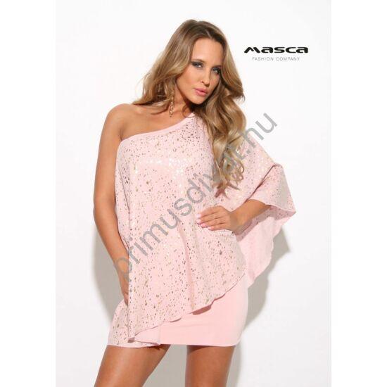 Masca Fashion kétrétegű, aszimmetrikus pasztell rózsaszín miniruha bő, nyomott arany mintás felső réteggel