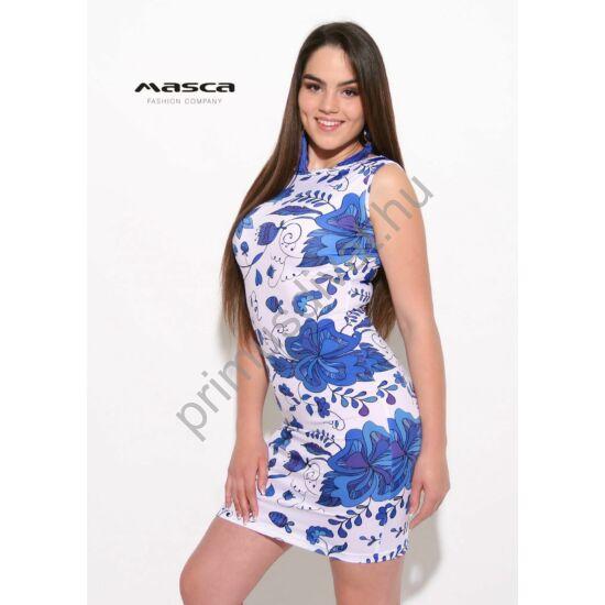 5b3d8a696 Masca Fashion csónaknyakú, ujjatlan királykék virágmintás fehér szűk  miniruha - Mf918-37