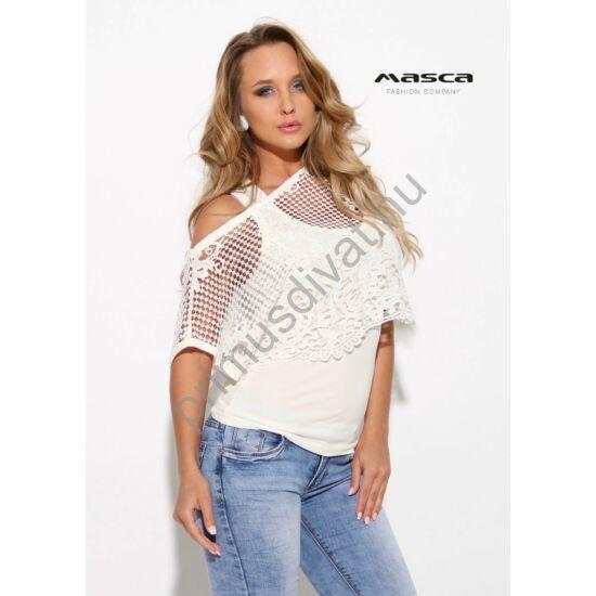 f1f491a84f Masca Fashion trikópántos törtfehér felső, különálló csónaknyakú rövid  csipke felsőrésszel