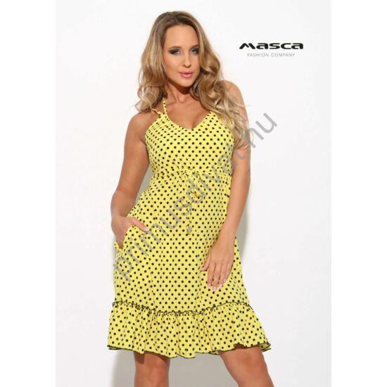 53ca2f7cb5 Masca Fashion dupla spagettipántos, fodros aljú A-vonalú fekete pöttyös  sárga lenge zsebes ruha