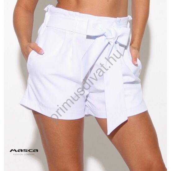 Masca Fashion magasított derekú zsebes fehér sort, rövidnadrág