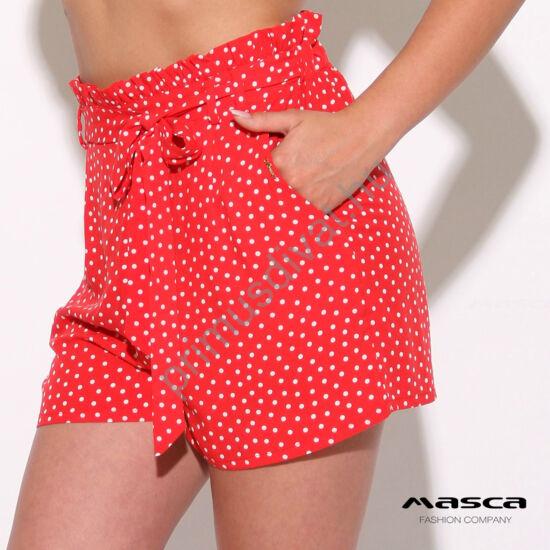 Masca Fashion magas derekú, papírzacskó fazonú piros-fehér pöttyös sort, derekán kötős övvel, vékony szövött anyagból