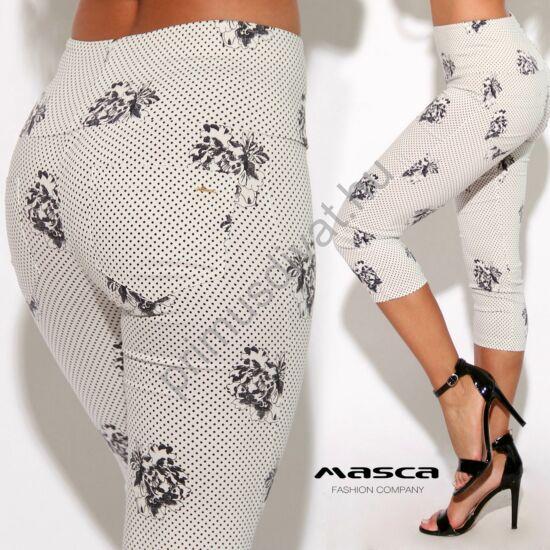 Masca Fashion magasított derekú fekete pöttyös-virágos fehér háromnegyedes elasztikus bengalin leggings, cicanadrág, zsebekkel