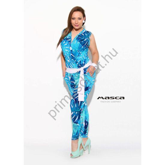 Masca Fashion ráncoltan átlapolt elejű kék filodendron mintás ujjatlan, hosszú nadrágos lezser overál, megkötős fehér övvel