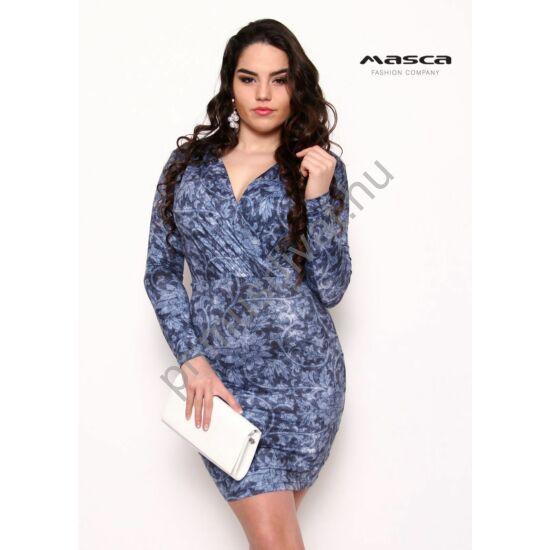 Masca Fashion átlapolt, ráncolt mellrészű indamintás farmerkék hosszú ujjú miniruha