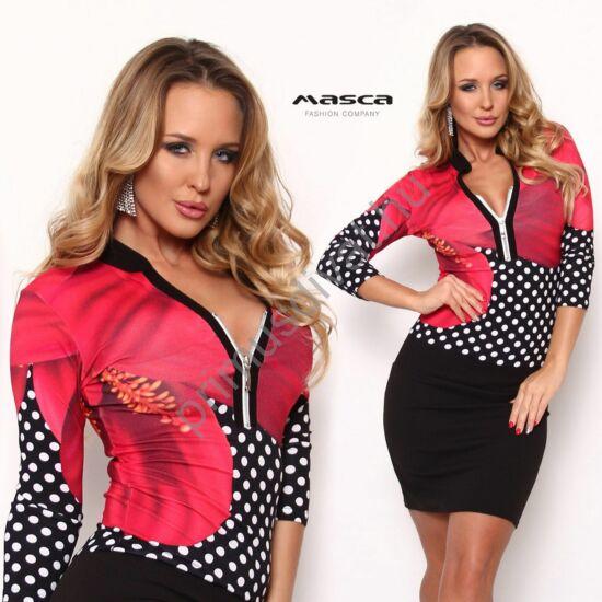 Masca Fashion állónyakú, cipzáras dekoltázsú, pink virágos, fekete-fehér pöttymintás háromnegyedes ujjú szűk miniruha