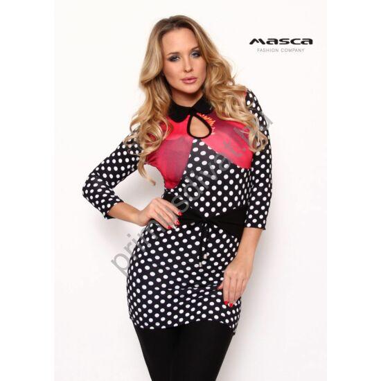 Masca Fashion galléros, csepp-kivágott dekoltázsú pink virágos, fekete-fehér pöttymintás háromnegyedes ujjú-szűk tunika, miniruha