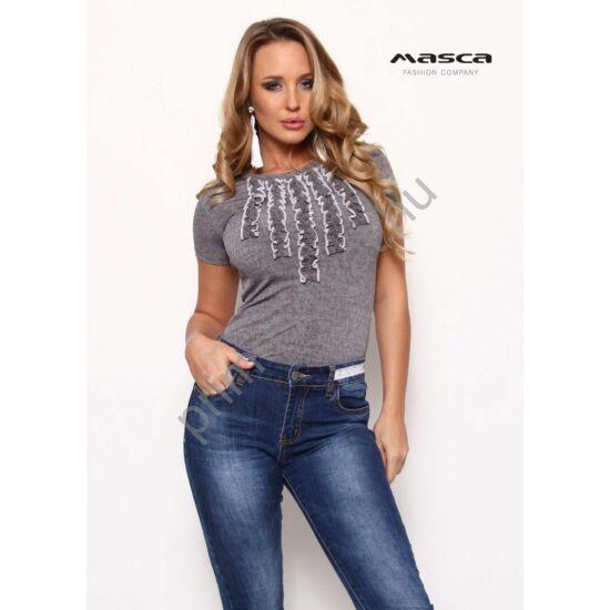 Masca Fashion fehér tűzésű fodorrátétes rövid ujjú szürke-melange szűk felső