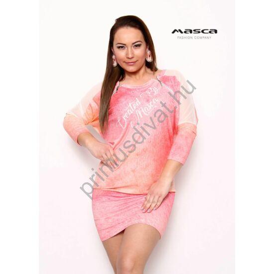 Masca Fashion muszlin betétes raglán denevérujjú, batikolt hatású korall színű bő miniruha, fém cipzár díszítéssel