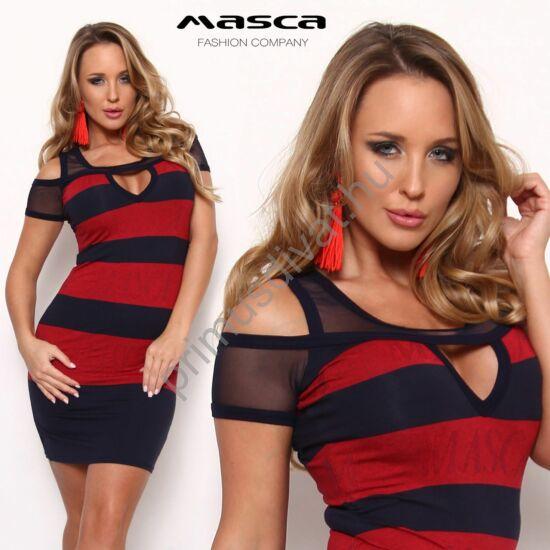 Masca Fashion muszlin betétes nyitott vállú, kivágott dekoltázsú kék-piros csíkos rövid ujjú szűk miniruha, a piros csíkban belekötött Masca felirattal
