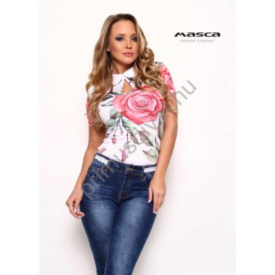 Masca Fashion fehér galléros csepp-kivágott dekoltázsú rövid ujjú rózsamintás szűk felső