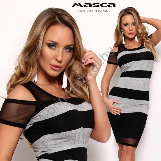 Masca Fashion muszlin betétes nyitott vállú, szürke-fekete csíkos rövid ujjú szűk midi ruha, a szürke csíkban belekötött Masca felirattal.