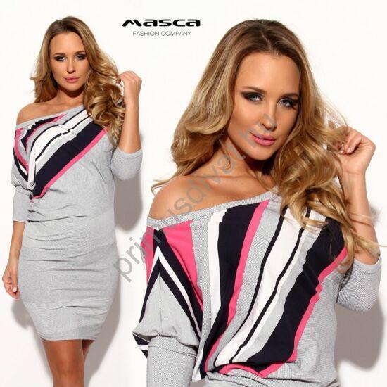 Masca Fashion csónaknyakú, aszimmetrikus pink-sötétkék csíkbetétes, denevérujjú, szűk, apró mintás szürke miniruha