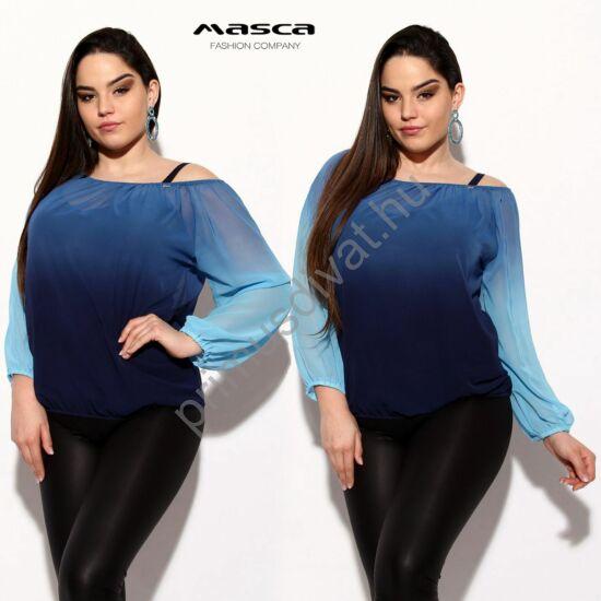 Masca Fashion két részes, vállra húzható gumírozott nyakú, színátmenetes kék lezser muszlin felső, csípőjén gumis behúzással, spagettipántos sötétkék toppal