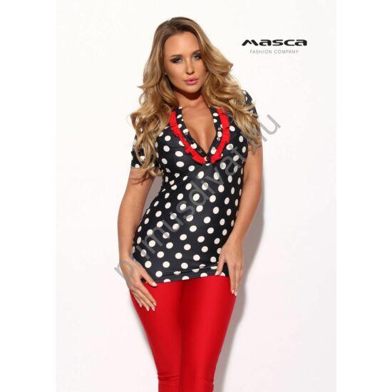 Masca Fashion piros fodorszegélyes, patentos dekoltázsú, rövid ujjú fekete-fehér pöttyös szűk felső
