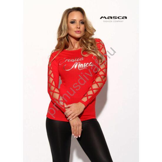 Masca Fashion keresztpántos nyitott hosszú ujjú szűk piros felső, mellén nyomott ezüst márkafelirattal