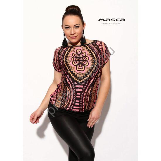 Masca Fashion dúsan mintázott rózsaszín-fekete-drapp rövid ujjú laza felső, csípőjén széles passzéval