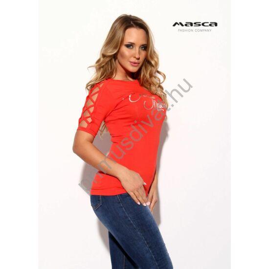 Masca Fashion keresztpántos nyitott rövid ujjú szűk korallpiros felső, mellén nyomott ezüst márkafelirattal