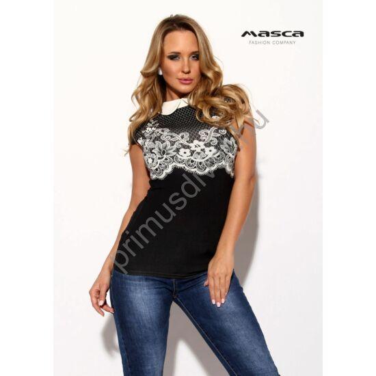 Masca Fashion galléros, nyomott fehér csipkemintás rövid ujjú szűk felső