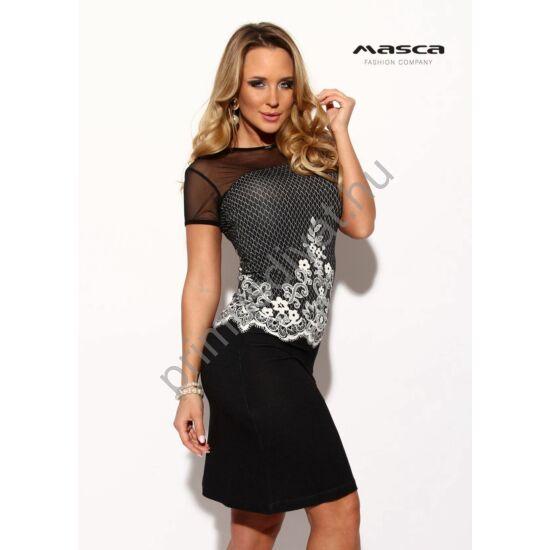 Masca Fashion muszlin betétes rövid ujjú, nyomott fehér csipkemintás fekete szűk miniruha