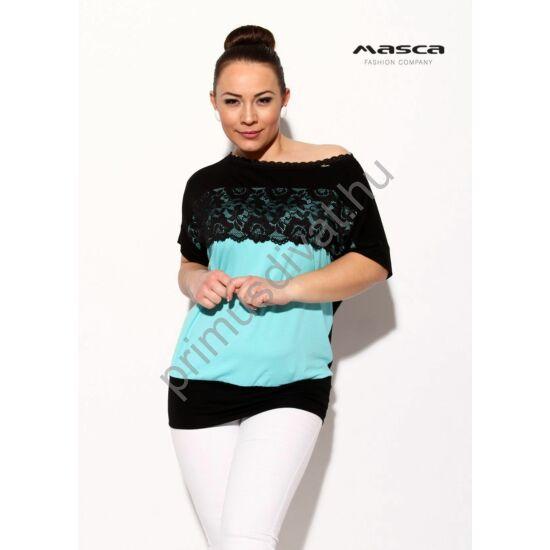 Masca Fashion csipke rátétes, vállra húzható csónaknyakú lezser rövid ujjú fekete felső, elején világoskék betéttel
