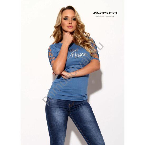 Masca Fashion keresztpántos nyitott rövid ujjú szűk farmerkék felső, mellén nyomott ezüst márkafelirattal