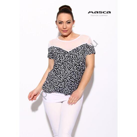 Masca Fashion fehér muszlin betétes rövid ujjú lezser, apró fehér virágmintás fekete felső, csípőjén fehér passzéval