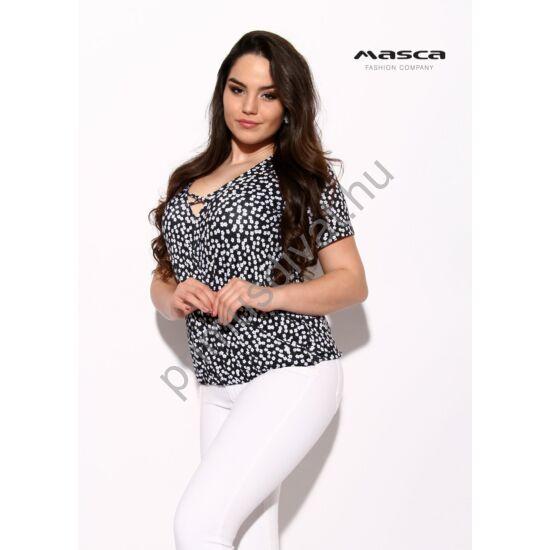 Masca Fashion pánttal összefogott V-nyakú, lezser rövid ujjú apró fehér virágmintás fekete felső, alján gumis behúzással