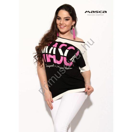 Masca Fashion vállra húzható csónaknyakú, rövid T-ujjú fekete-fehér lezser felső, nyomott pink márkafelirattal
