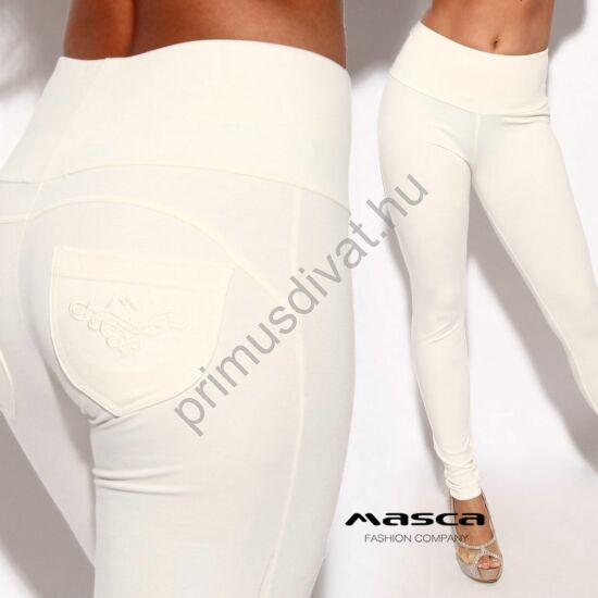 Masca Fashion magasított derekú ekrü elasztikus leggings, cicanadrág, hátul íves szabással, hímzett zsebbel