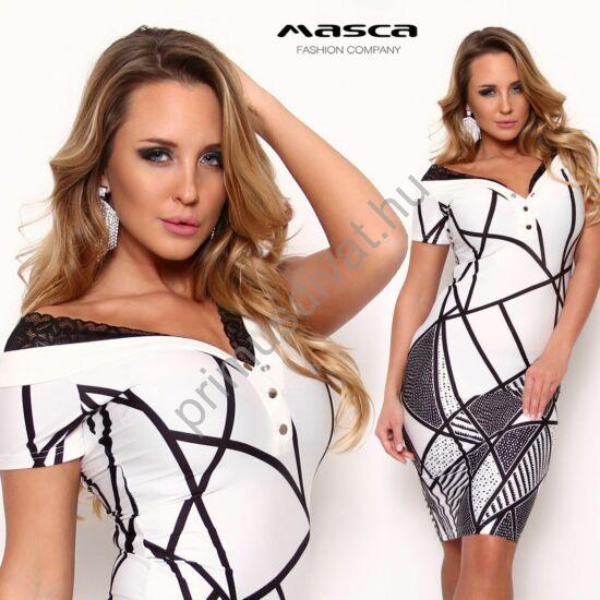 Masca Fashion vállra húzható csipkeszegélyes patentos dekoltázsú, fekete-fehér mintás szűk rövid ujjú miniruha