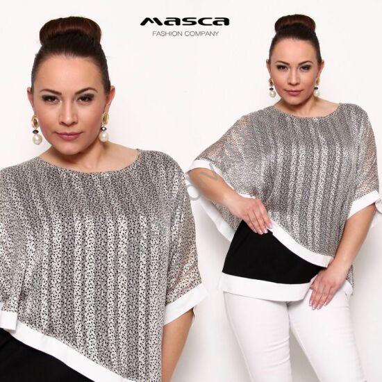 Masca Fashion fekete-fehér felső, tunika, nyaknál egybevarrott, apró mintás áttetsző csíkos aszimmetrikus bő felső réteggel