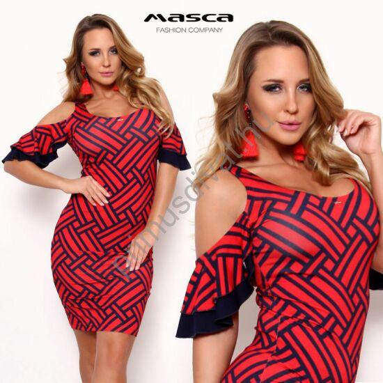 Masca Fashion nyitott vállú, fodros rövid ujjú sötétkék geometriai mintás piros miniruha