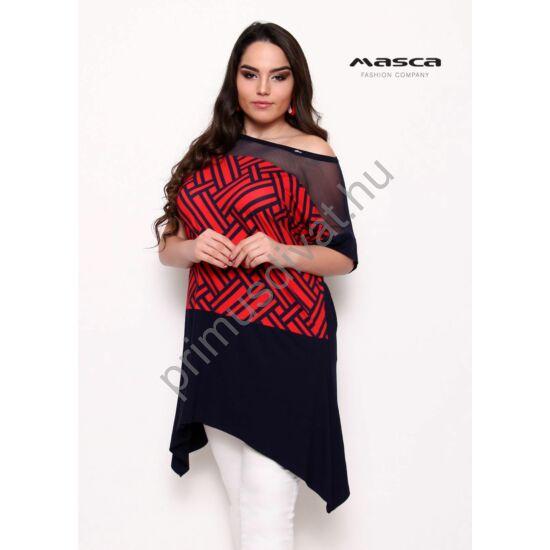 Masca Fashion muszlin betétes rövid ujjú, piros mintás sötétkék bő, lezser tunika, oldalain hosszabb szabással