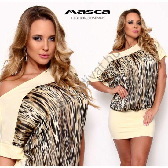 Masca Fashion vállra húzható csónaknyakú, szafari mintás csíkos arany lurex szálas betétes T-ujjú, vanília-sárga lezser miniruha
