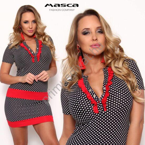 Masca Fashion piros betétes, fodorszegélyes patentos dekoltázsú rövid ujjú fekete-fehér pöttyös szűk miniruha