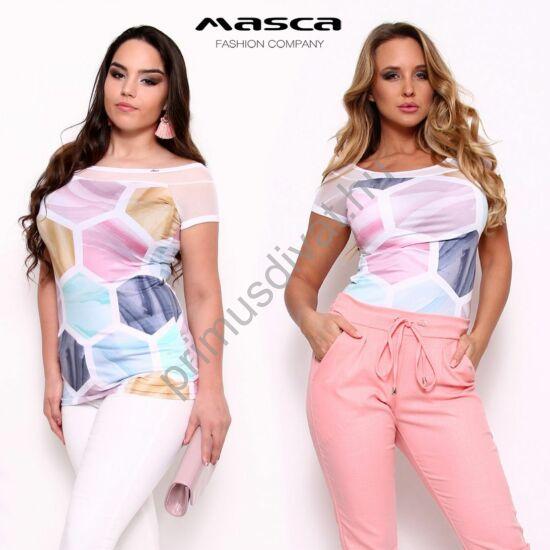 Masca Fashion hatszög mintás, muszlin betétes csónaknyakú, rövid ujjú színes felső