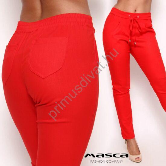 Masca Fashion gumis-kötős derekú, laza szabásvonalú zsebes, lenes hatású felületű piros rugalmas vászon hosszúnadrág