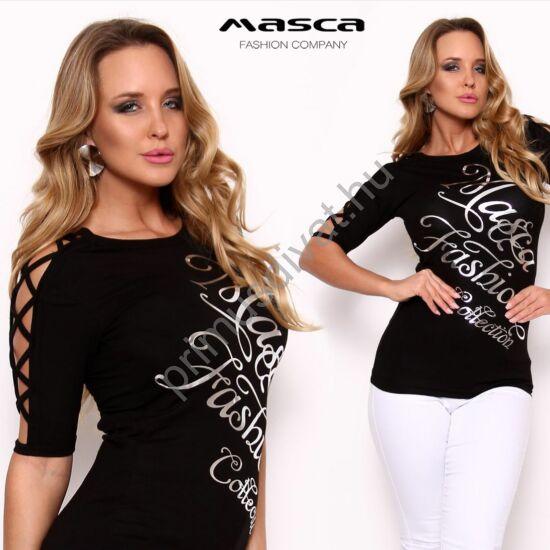 Masca Fashion keresztpántos nyitott rövid ujjú szűk fekete felső, mellén nyomott ezüst márkafelirattal