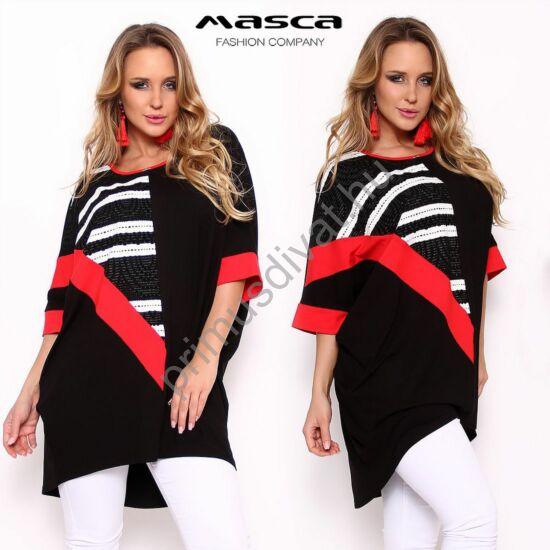 Masca fashion bő, lezser szabású piros betétes fekete T-ujjú tunika, áttört lurexes mintás rátéttel