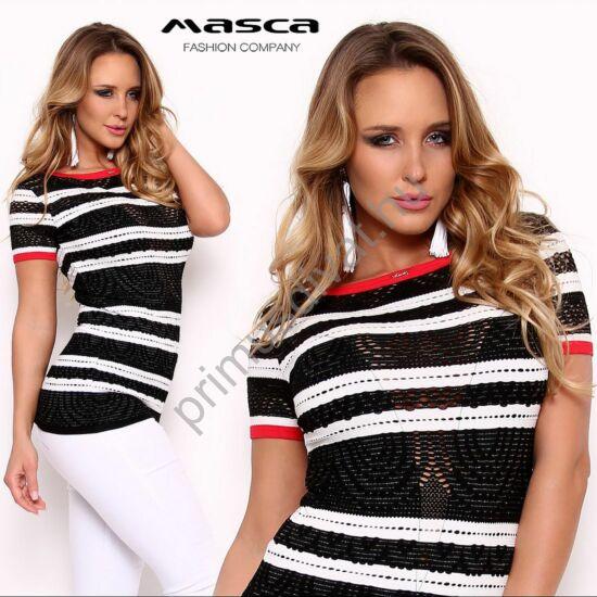 Masca Fashion áttört csipke mintás, csillogó lurex szálas fekete-fehér csíkos csónaknyakú szűk felső, piros szegőkkel