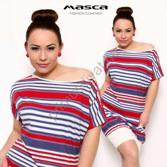 Masca Fashion vállra húzható csónaknyakú, piros-kék-fehér csíkos rövid ujjú zsebes lezser miniruha, alján széles fehér passzéval