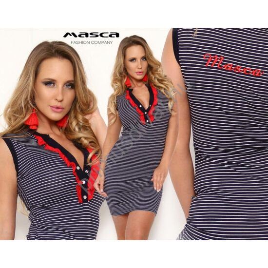 Masca Fashion piros fodorszegélyes patentos dekoltázsú ujjatlan, kék-fehér csíkos szűk miniruha, hátán hímzett márkafelirattal