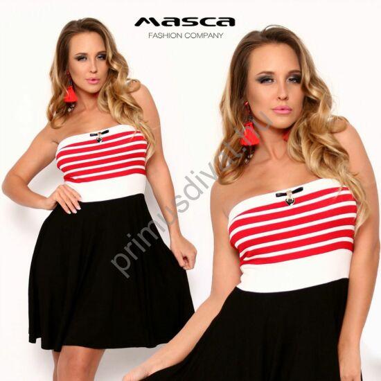 Masca Fashion loknis fekete szoknyarészű, pánt nélküli piros-fehér csíkos miniruha