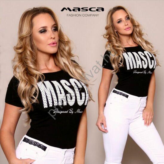 Masca Fashion rövid ujjú szűk fekete felső, nyomott fehér pöttyös márkafelirattal
