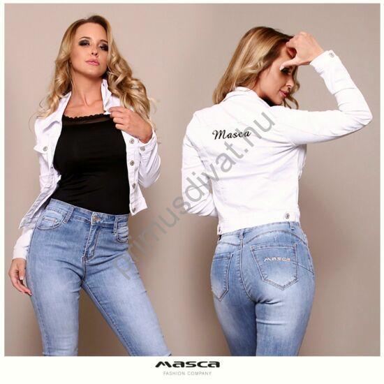 Masca Fashion rugalmas fehér farmerdzseki, hátán hímzett fekete márkafelirattal