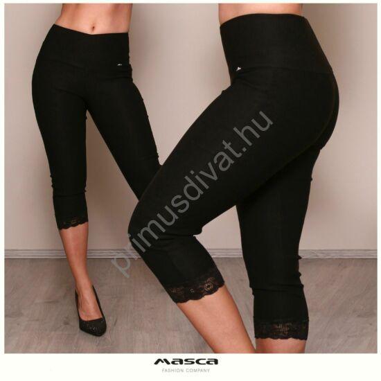 Masca Fashion csipkeszegély díszítésű fekete rugalmas bengalin capri vászonnadrág