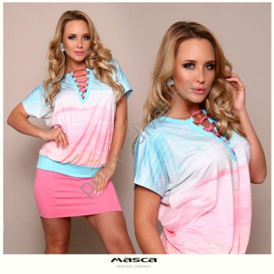 Masca Fashion pink fűzős dekoltázsú, pasztell színű színátmenetes mintás laza miniruha, egyszínű szűkebb aljjal
