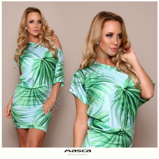 Masca Fashion csónaknyakú aszimmetrikus, zöld növénymintás rövid ujjú szűk miniruha, lágy, rugalmas, selymes anyagból